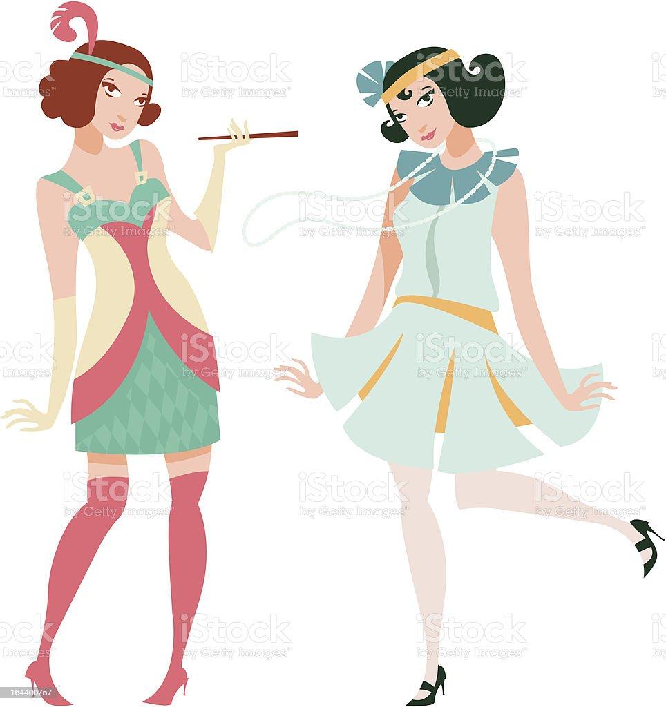 Vintage girls royalty-free stock vector art