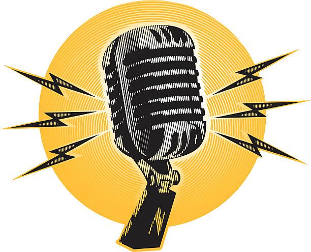 vintage halftone microphone vector art illustration