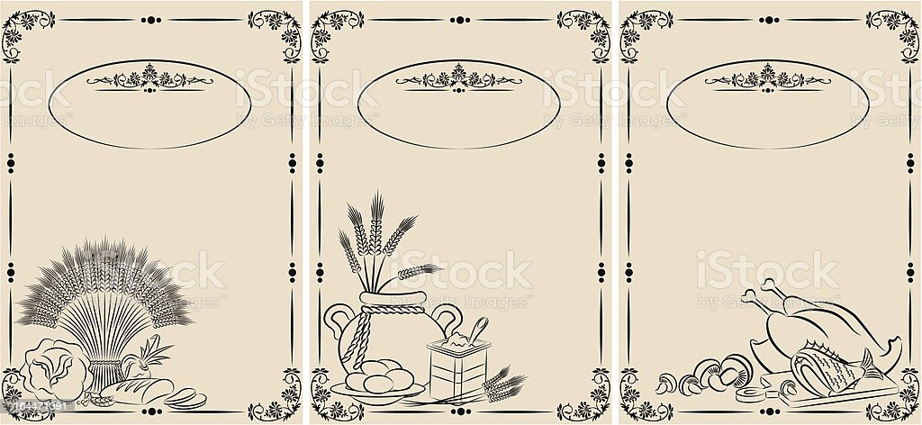 Vintage healthy meal ingredients on background. Vector set royalty-free stock vector art