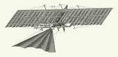 istock Vintage Henson's flying Machine, Illustrating Theories of Dynamics and Other Physical Laws Engraving Antique Illustration, Published 1851 1255989082