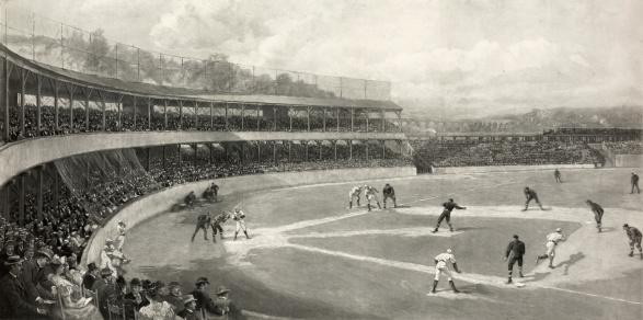 Vintage Illustration of a Baseball Game