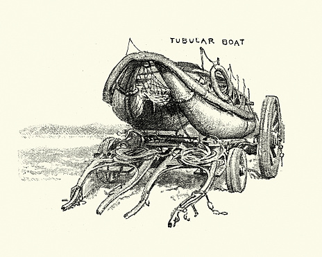 Vintage illustration of a Victorian tubular lifeboat, 1880s, 19th Century