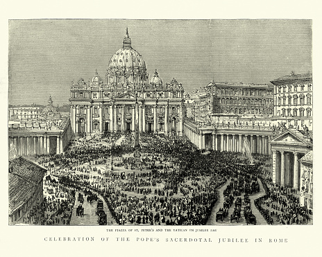 Vintage illustration of Crowds in Piazza of St Peter's and the Vatican on Jubilee day.  Celebration pof the Pope's sacrdotal Jubilee, 1888