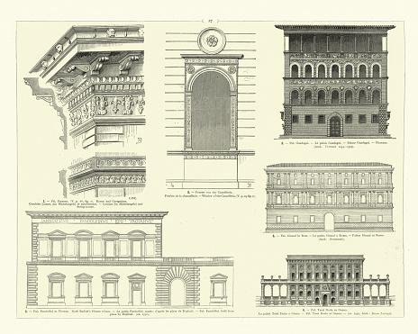 Vintage illustration of Examples of Italian Renaissance Architecture, Florence, Rome, Genoa