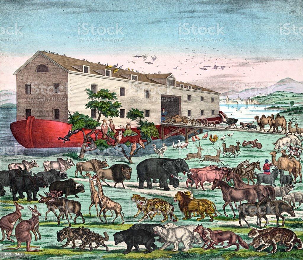 Vintage Illustration of Noah's Ark royalty-free stock vector art