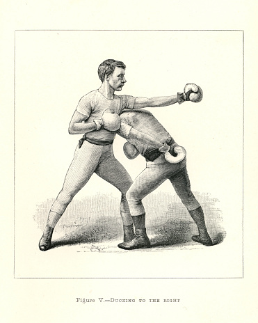 Vintage illustration of two boxers, boxing positions, Ducking to the right, Victorian combat sports, 19th Century