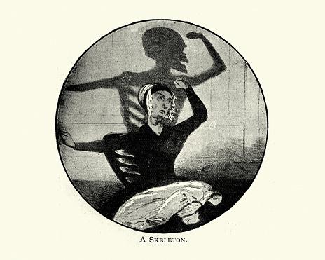 Vintage illustration shadows by Charles H. Bennett, A Skeleton
