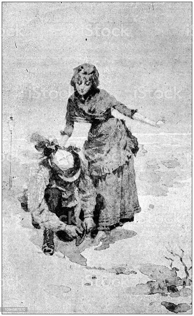 Vintage illustrations for the novel \'Tartarin sur les Alpes\' by...
