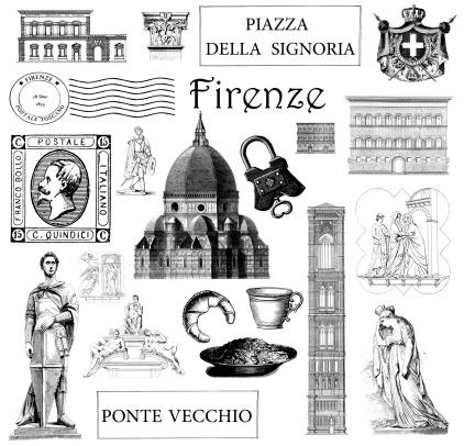 Vintage Illustrations Landmarks and Symbols of Florence Italy Set