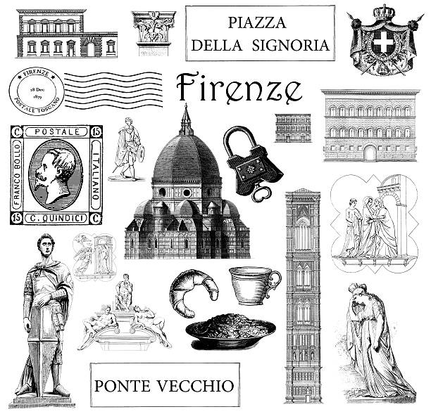 illustrazioni stock, clip art, cartoni animati e icone di tendenza di vintage illustrazioni monumenti e simboli di firenze set - firenze