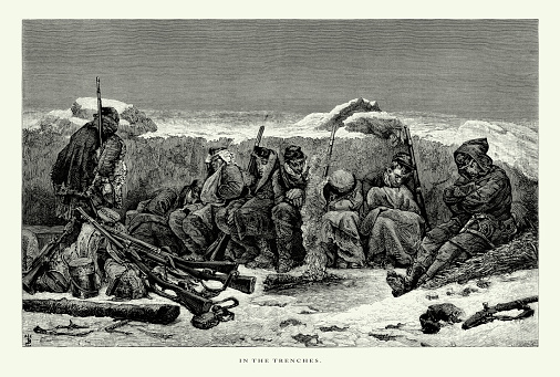 Very Rare, Beautifully Illustrated Antique Engraving of In the Trenches, Victorian Engraving, 1875. Source: Original edition from my own archives. Copyright has expired on this artwork. Digitally restored.