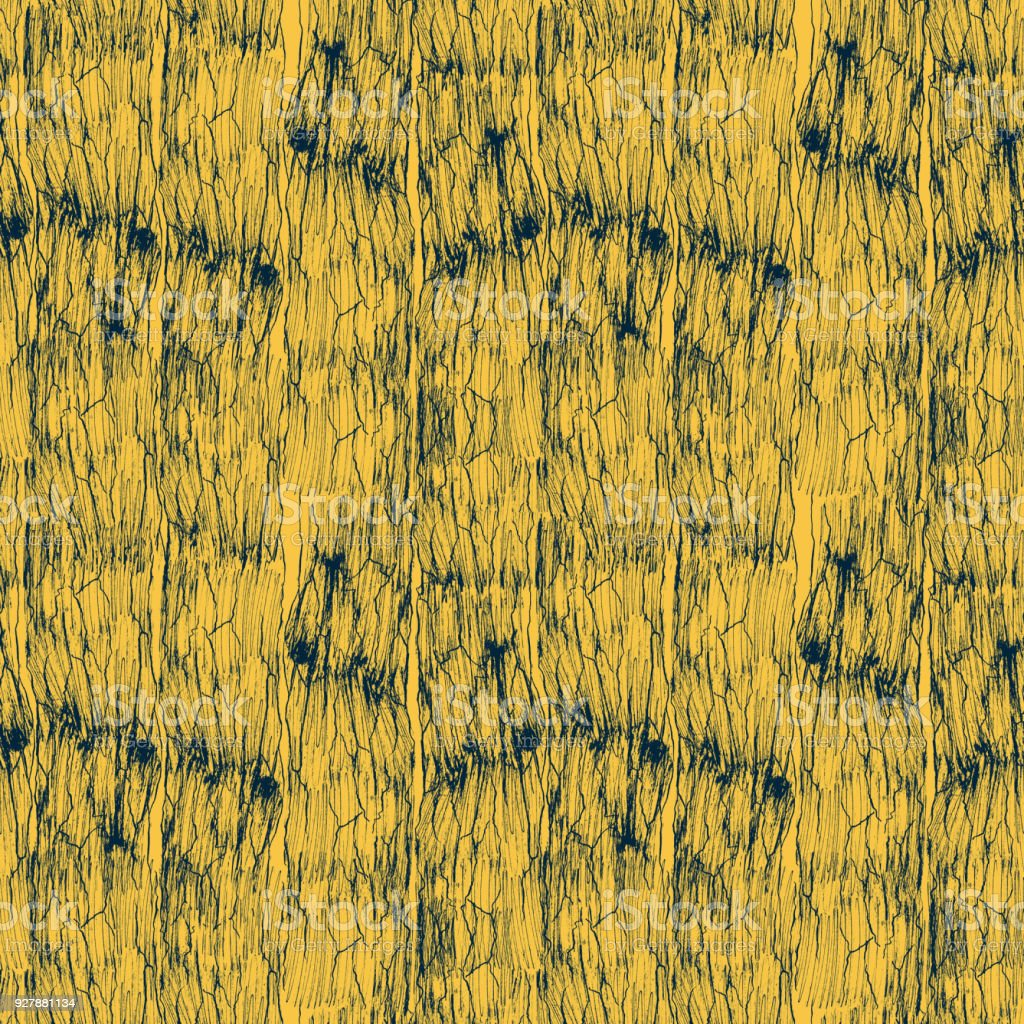 Vintage Ink Seamless Pattern Blue Grain Of Wood Isolated On Yellow Background Texture