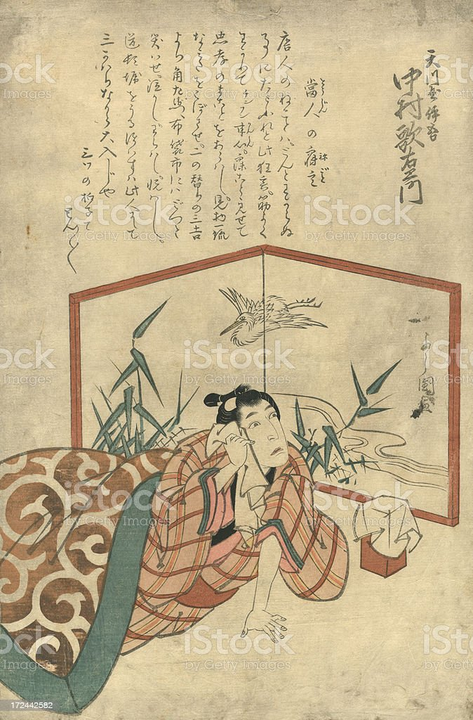 Vintage Japanese Woodblock print of Actor vector art illustration