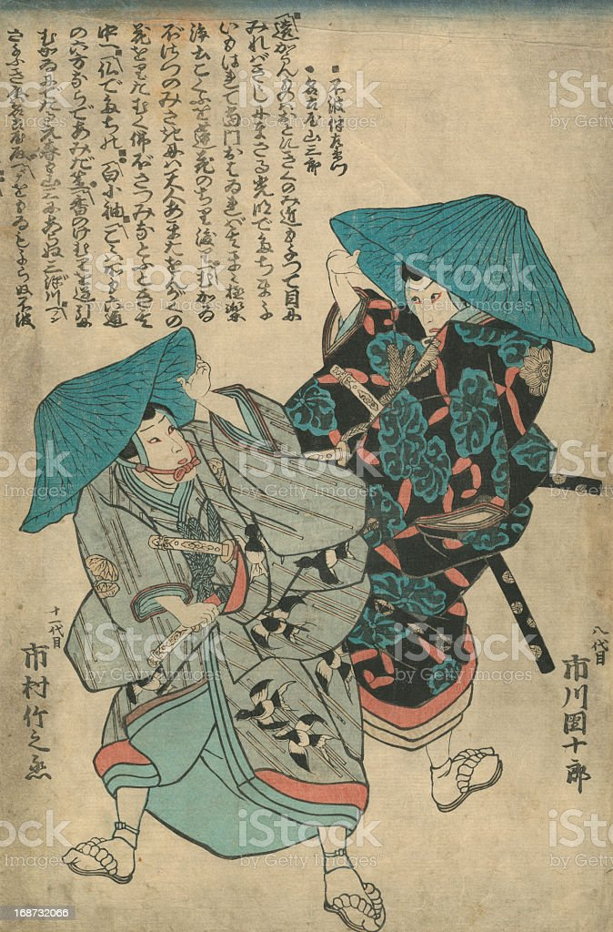 Vintage Japanese Woodblock print of Actors vector art illustration
