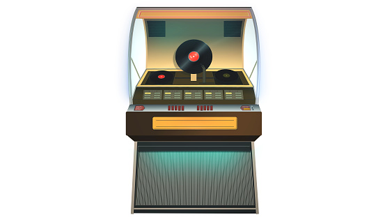 Vintage jukebox plays in front of white background