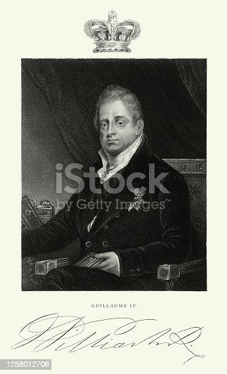 istock Vintage, King William IV of the United Kingdom, English Victorian Engraving, 1840 1258012706