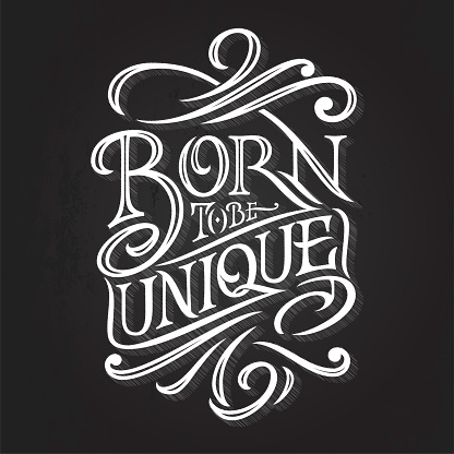 Vintage Lettering BORN TO BE UNIQUE on a dark background. Typography for print design, printing on T-shirts, sweatshirts, posters, covers of notebooks and sketchbooks. illustration.