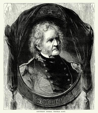 Engraving of Lieutenant General Winfield Scott Civil War Engraving from
