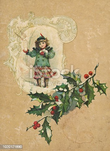 Vintage illustration of a little girl throwing snowballs in an ornate Christmas frame on antique paper. Vintage etching on linen circa late 19th century.