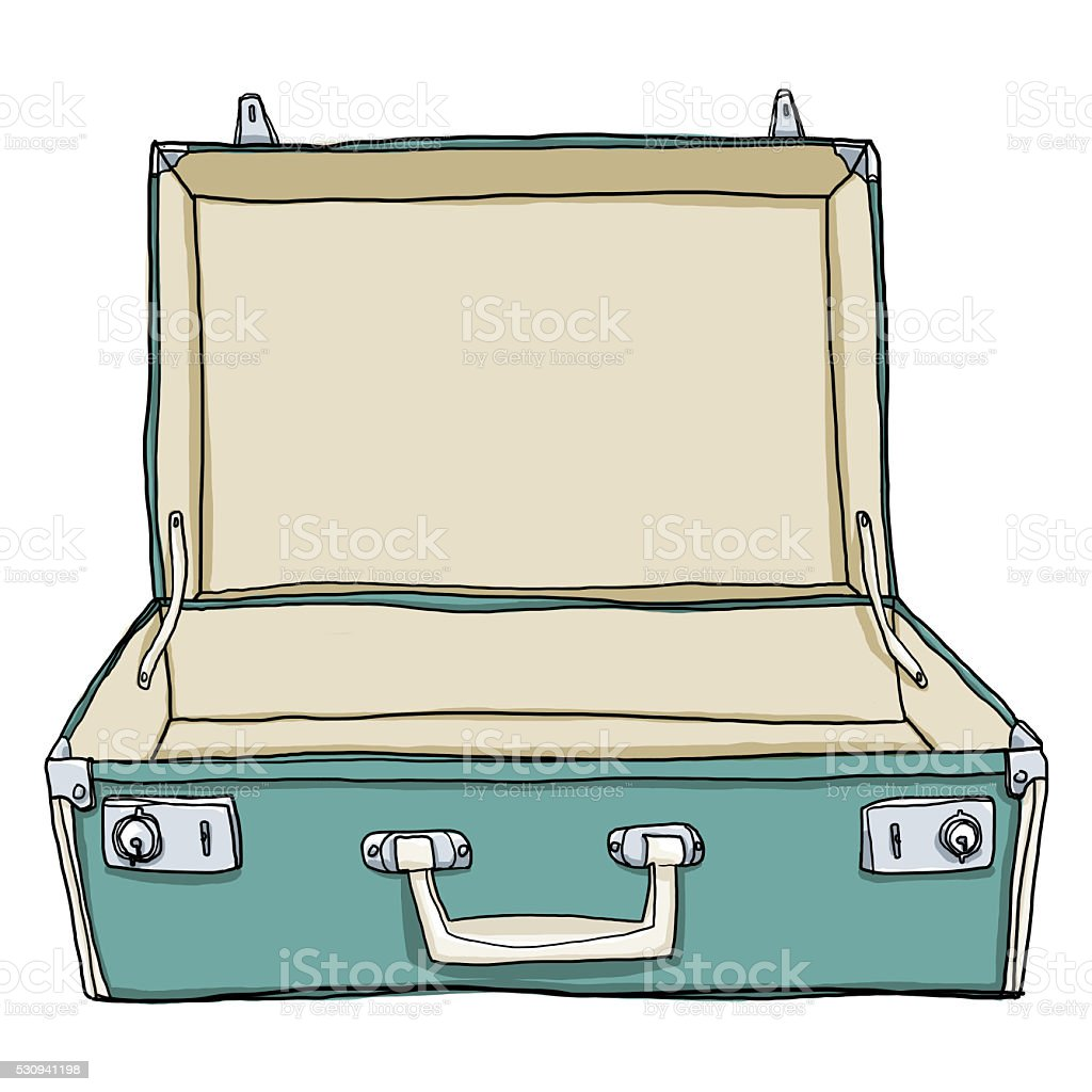Vintage Luggage Suitcases Travel Open Is Empty Cute Illustrat Royalty Free