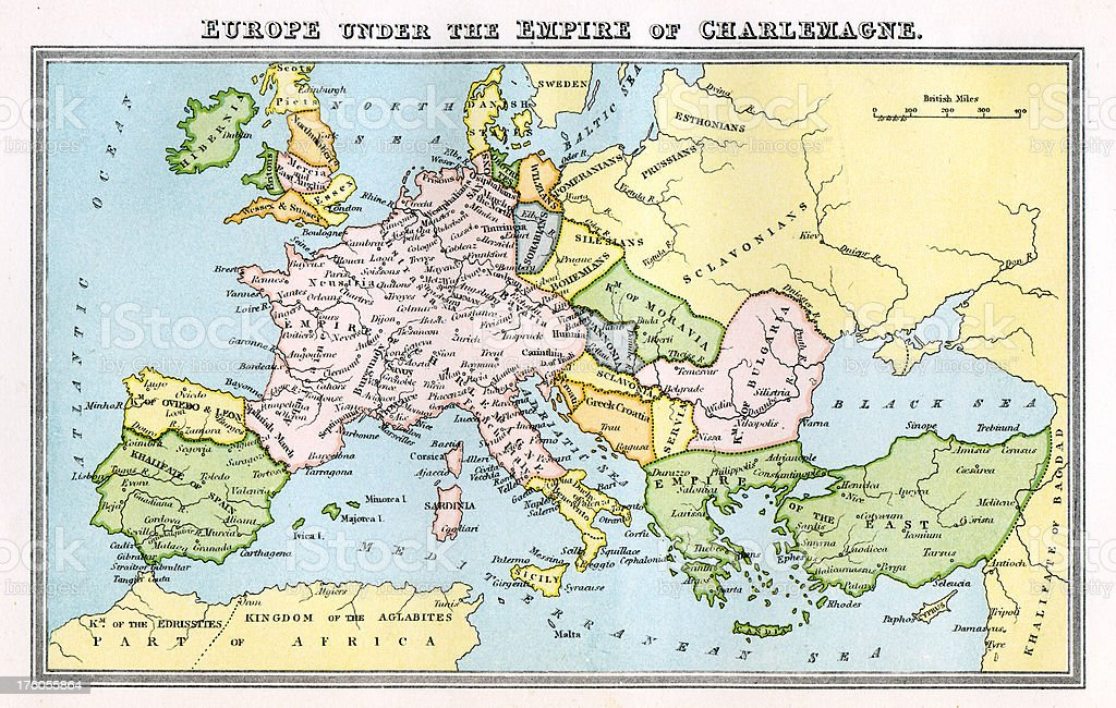 Vintage Map 9th Century Europe Empire Of Charlemagne Stock Vector