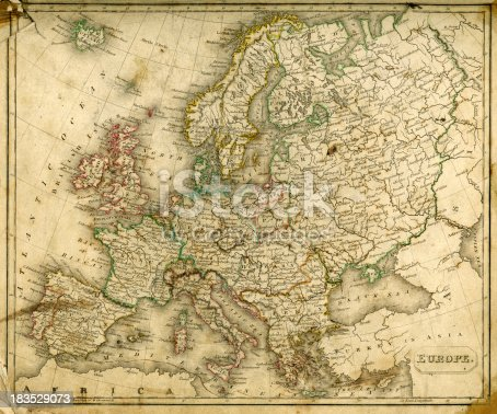 Grubby Vintage map of Europe from 1837