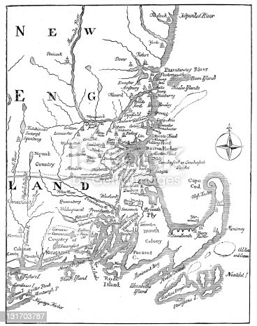 Vintage Map of New England at the beginning of the 18th century.