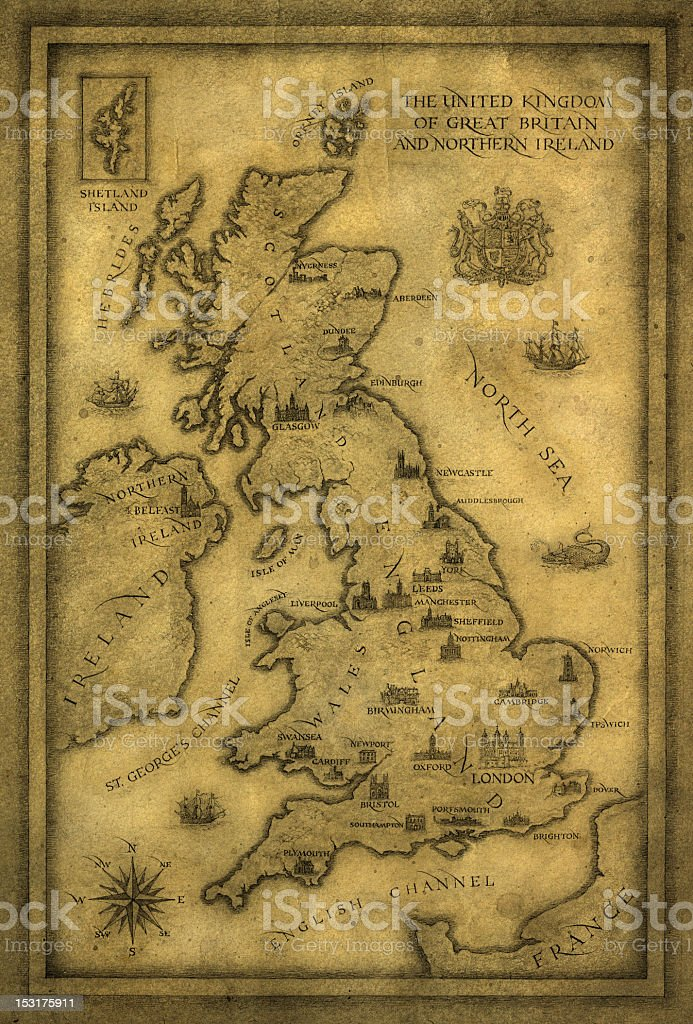 Vintage map of the UK of Great Britain and Northern Ireland vector art illustration
