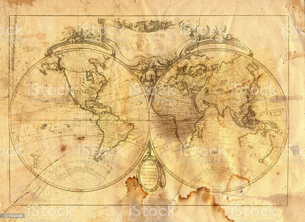 vintage map of the world vector art illustration