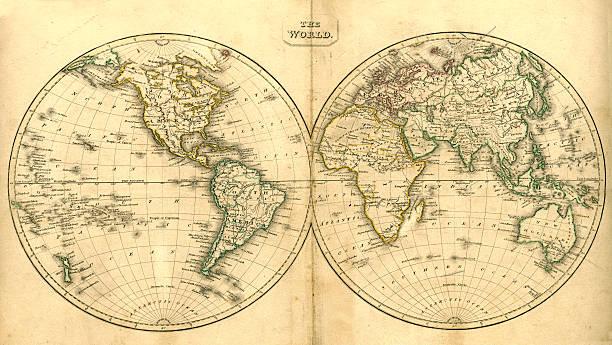 ビンテージ世界地図 - ビンテージの地図点のイラスト素材/クリップアート素材/マンガ素材/アイコン素材