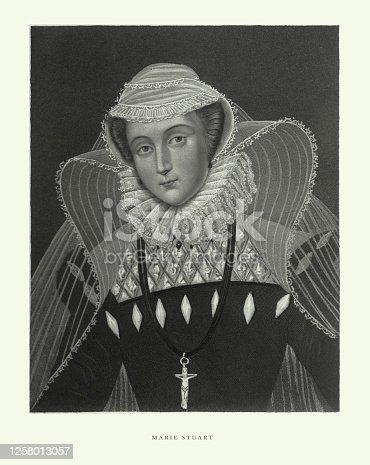 istock Vintage, Marie Stuart, English Victorian Engraving, 1840 1258013057