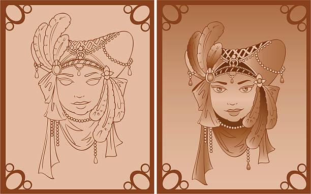 illustrazioni stock, clip art, cartoni animati e icone di tendenza di maschera vintage - alta moda italy
