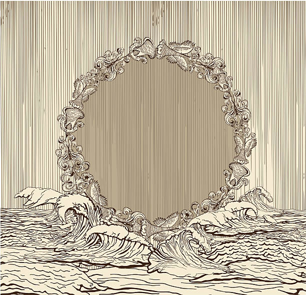 Vintage medallion surrounded by water waves vector art illustration
