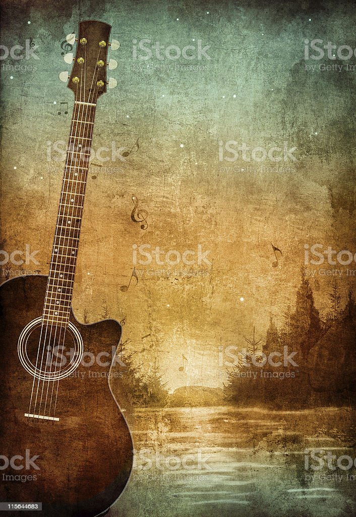 Vintage old paper texture with guitar in nice lake scene vector art illustration