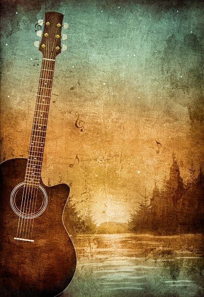 vintage old paper texture with guitar in nice lake scene - river paper stock illustrations, clip art, cartoons, & icons