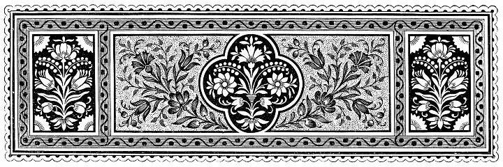 Vintage page ornament ,flowers