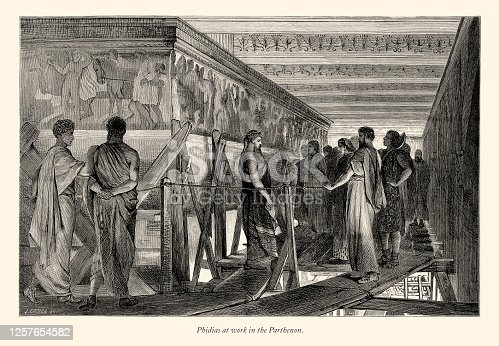 Very Rare, Beautifully Illustrated Antique Engraving of Phidias at work in the Parthenon, English Victorian Engraving, 1875. Source: Original edition from my own archives. Copyright has expired on this artwork. Digitally restored.