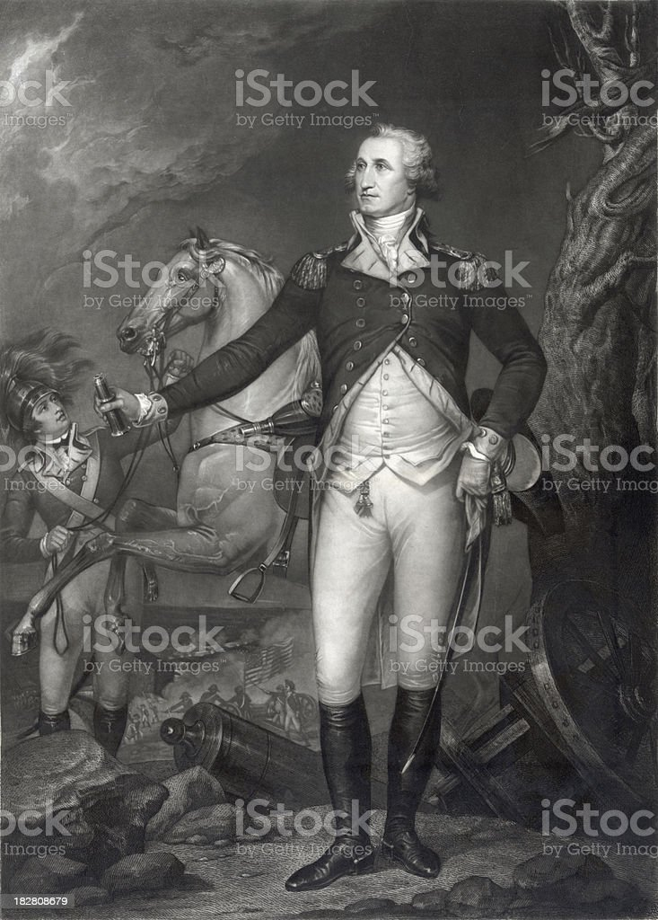 Vintage Portrait of George Washington on the Battlefield vector art illustration
