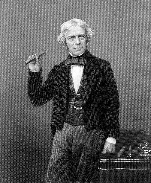 Vintage Portrait of Scientist Michael Faraday  name of person stock illustrations