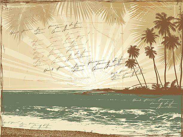 retro postkarte, palmen, meer, doodle poesie - reiseliteratur stock-grafiken, -clipart, -cartoons und -symbole