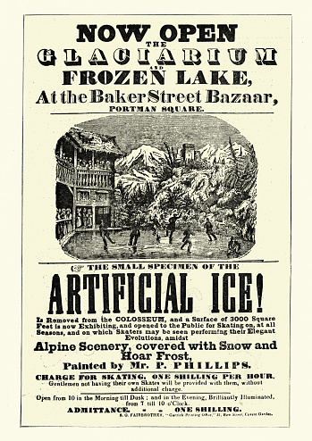 Vintage illustration of a Vintage poster for Glaciarium, world's first mechanically frozen ice rink 19th Century