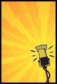 vintage style radio mic poster