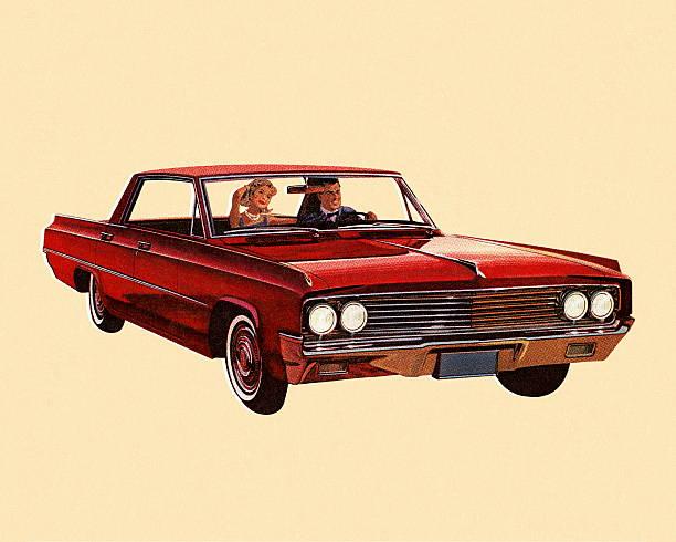 ilustrações, clipart, desenhos animados e ícones de vintage carro vermelho - carro mulher