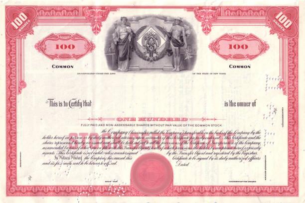 Vintage Red Share Certificate vector art illustration