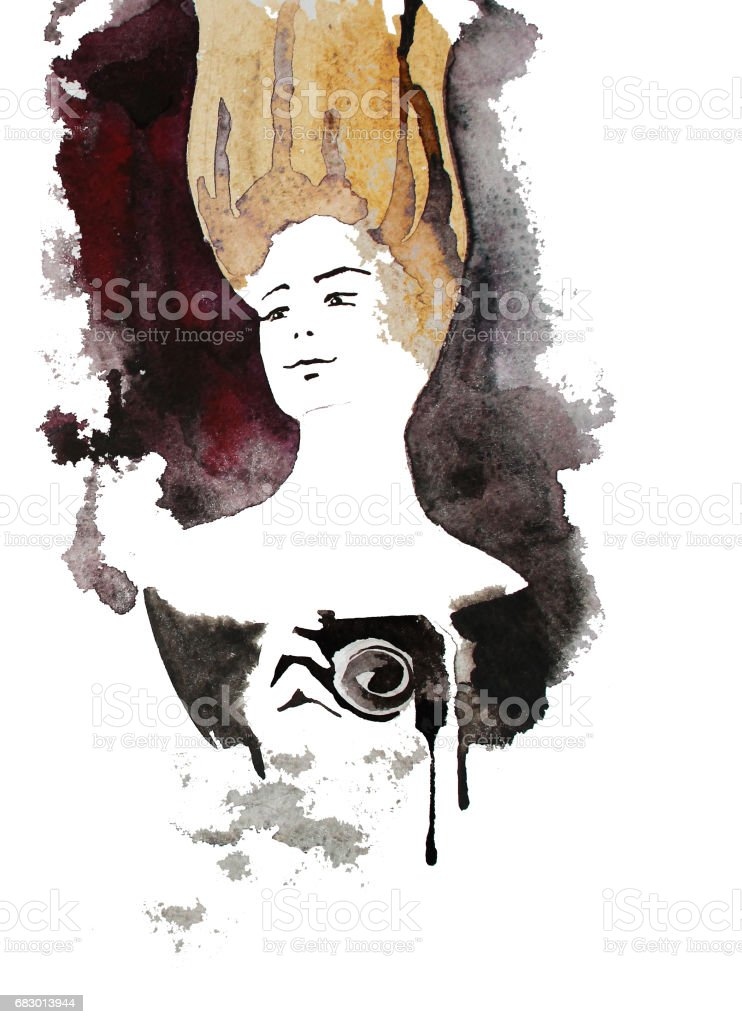 Vintage redhead photographer, hand drawn watercolor illustration royalty-free vintage redhead photographer hand drawn watercolor illustration stock vector art & more images of 20-29 years