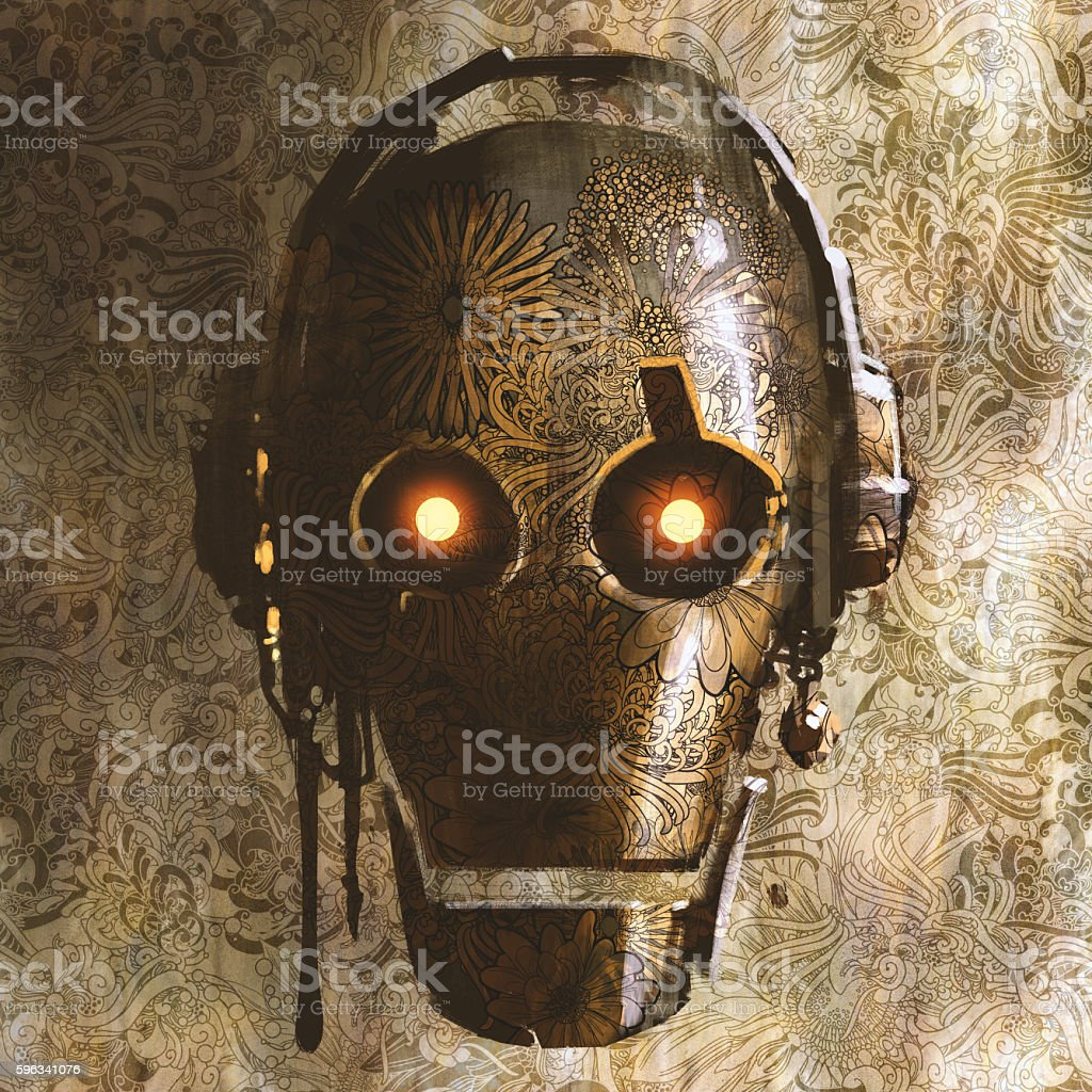 vintage robot head with floral textured royalty-free vintage robot head with floral textured stock vector art & more images of abstract