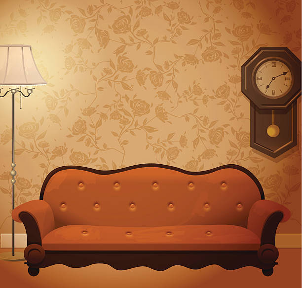 ilustrações de stock, clip art, desenhos animados e ícones de quarto vintage - living room background