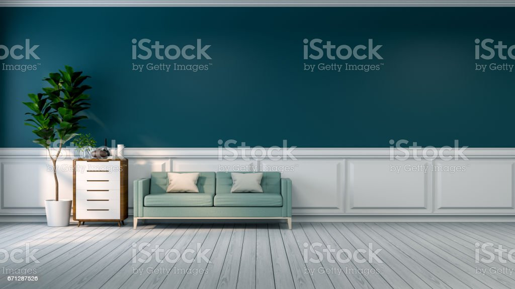 Vintage Room Interior,blue Sofa With Plant And Wood Cabinet On White Flooring  And Green