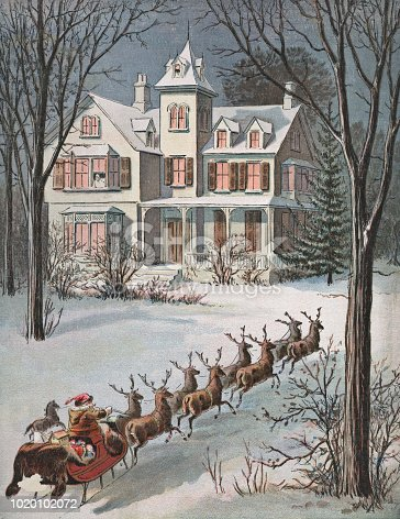 Vintage illustration of Santa Claus and his reindeer arriving at a house on Christmas night. Vintage etching on linen circa late 19th century.