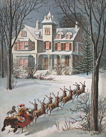 Vintage Santa Claus and Reindeer at a House on Christmas